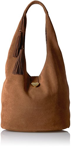 Dear Drew by Drew Barrymore Downtowner Suede Hobo Bag- Saddle