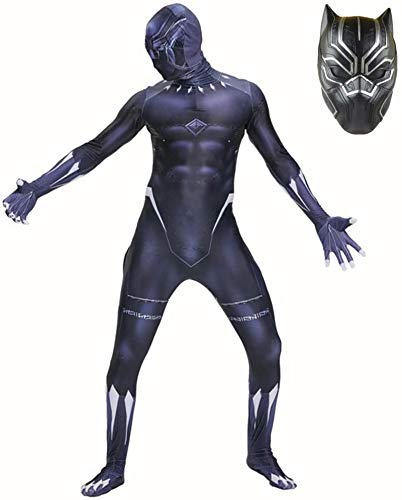 Role Play Conjoined Tights Avengers Cosplay Costumes with Masks Black Panther Anime Jumpsuit Bodysuit Fancy Dress Suit Spandex Lycra Outfit