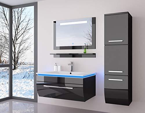 Badmöbel Set Komplett Schwarz Hochglanz kaufen  Bild 1*