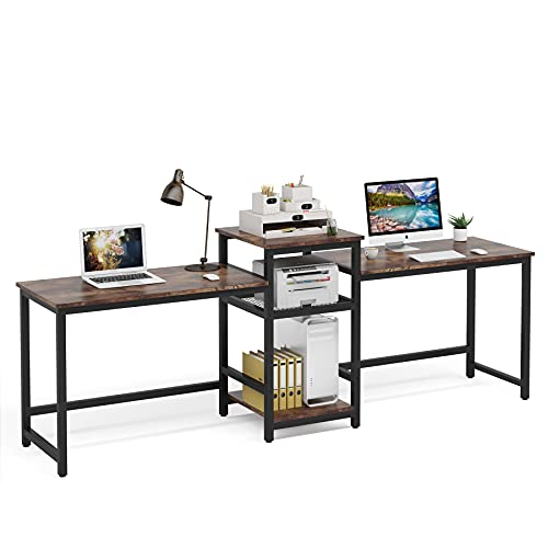 Tribesigns 96.9  Double Computer Desk with Printer Shelf, Extra Long Two Person Desk Workstation with Storage Shelves, Large Office Desk Study Writing Table for Home Office, Dark Brown