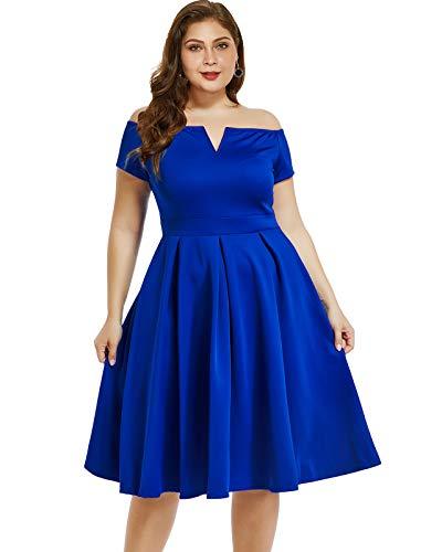 LALAGEN Women's Plus Size Vintage 1950s Party Cocktail Wedding Swing Midi Dress Blue XXXL