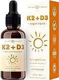 Vitamin K2 D3 Supplement Drops - Healthy Bones, Heart, Mood & Immune System - Vegan D3 5000 IU & K2 MK7 & MK4 100 mcg - 2 oz. Organic Liquid for Better Absorption Than Capsule, Pill or Gummies