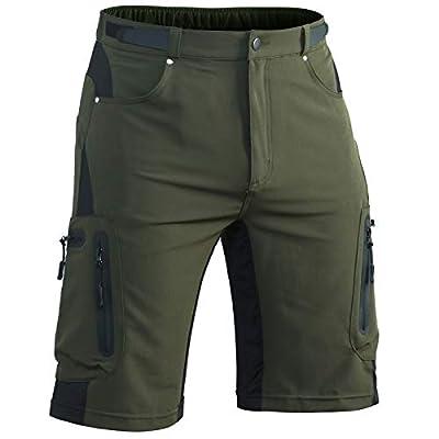 Hiauspor Mens-Outdoor-Hiking-Shorts MTB Mountain Bike Short Quick Dry Lightweight Cargo Pants with Zipper Pockets (Green, L)