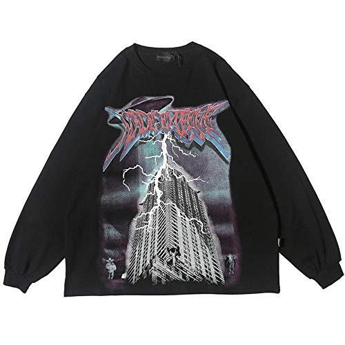 Herren Sweatshirt Vaporwave Lightning Planet Print Pullover Herren O-Ausschnitt Loose High Street Paar Hoodies Streetwear Herbst