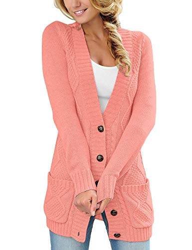 GRAPENT Women's Coral Open Front Cable Knit Buttons Casual Sweater Cardigan Loose Outwear Coat with Pockets Small