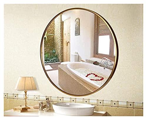 Espejo de maquillaje espejo de baño, espejo de aluminio, espejo de maquillaje redondo, vidrio de lavado, espejo de lavabo, espejo colgante de pared espejo pequeño ( Color : Gold , Size : 60*60CM )