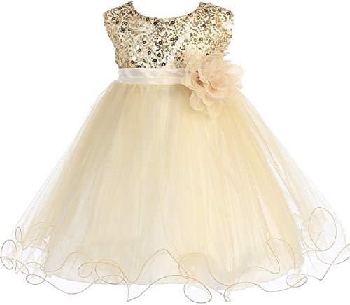 Little Baby Girls Sleeveless Sequin Glitter Little Baby Infant Toddler Flower Girl Dress Gold M (K31D5)