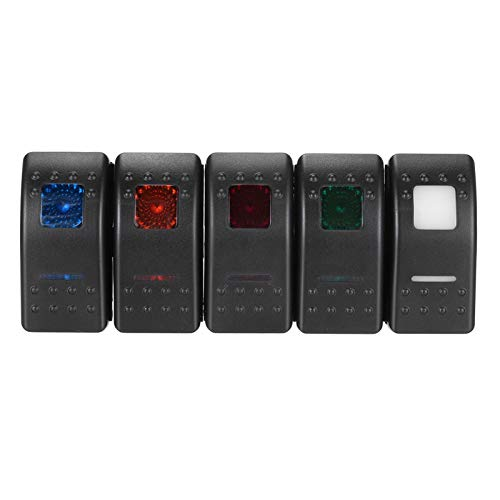 WEIMEIDA Qclj0423 Interruptor de botón Despertador LED 12V 7 Pins LED DPDT On-On-On On-On Bocker Mocker Switch Piezas de Repuesto (Color : White)
