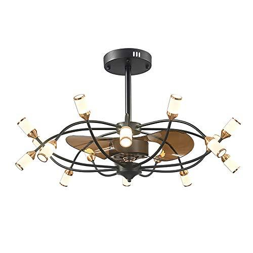 Vuur plafondventilator met verlichting, plafondlamp, ventilator, kroonluchter, dimbaar, led-plafondlamp met 16 spots, voor slaapkamer, woonkamer, eetkamer
