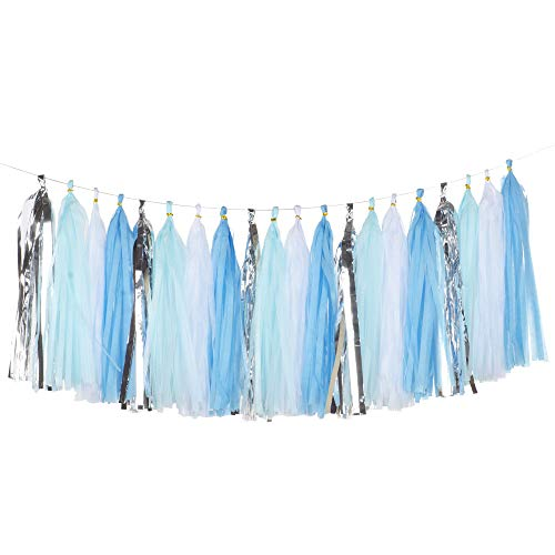 We Moment Tissue Paper Tassels Party Tassel Garland Banner for Wedding Birthday Baby Shower Party Decorations Supplies, DIY Kits,Light Blue,Sky Blue,White,Silver,Pack of 20