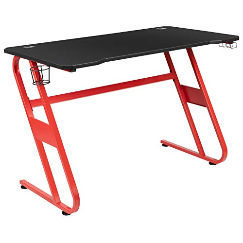 Flash Furniture Red Gaming Ergonomic Desk with Cup Holder and Headphone Hook