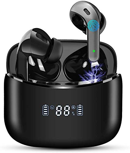 Auriculares Inalámbricos Auriculares Bluetooth 5 Pantalla LED TWS Auriculares Deportivos Reproducci 40 Horas, Carga Rápida USB-C Micrófono Incorporado Control Táctil IPX7 para iPhone Samsung