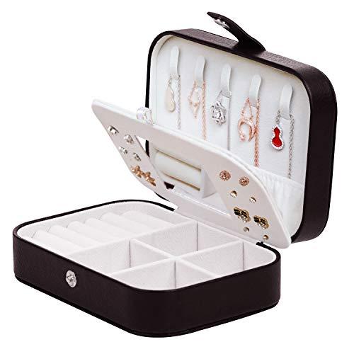 LAVSS Boîte à Bijoux Portable avec Miroir pour Colliers,Bracelets,bagues,Boucles d oreilles Noir