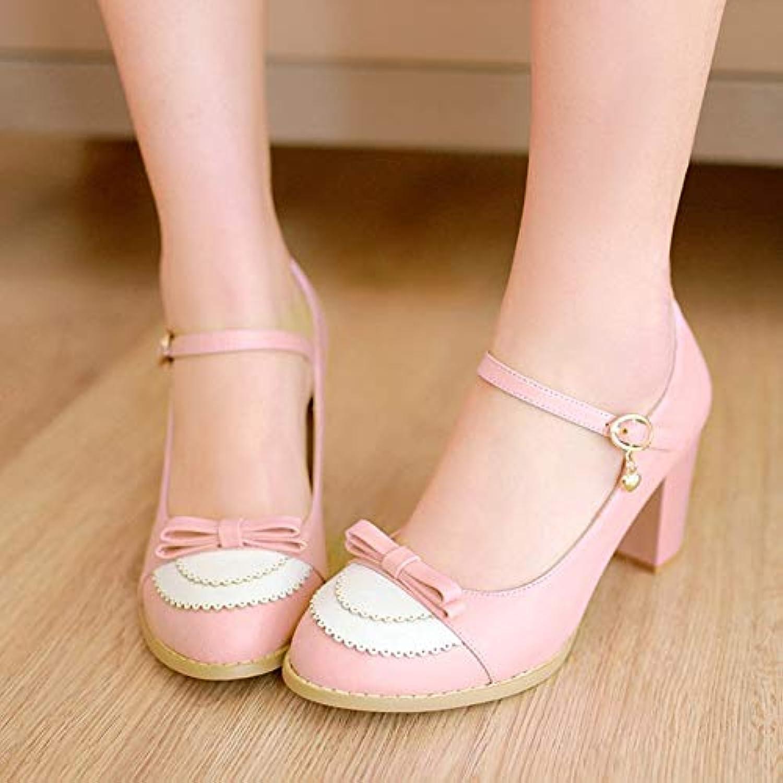 MENGLTX High Heels Sandalen Gre 34-45 Frühling Damen Pumps Schnalle 8 cm Dicke High Heels Runde Kappe Mode Damen Pumps Hochzeit Schuhe