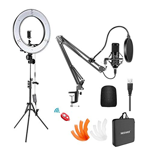 Neewer Ring Light and Microphone Live Streaming Studio Kit - 55W 18-inch Ring Light with Stand, 192KHZ/24BIT Plug&Play Professional Podcast Mic for Pc, Laptop, Perfect for Vocal Record, Gaming Live