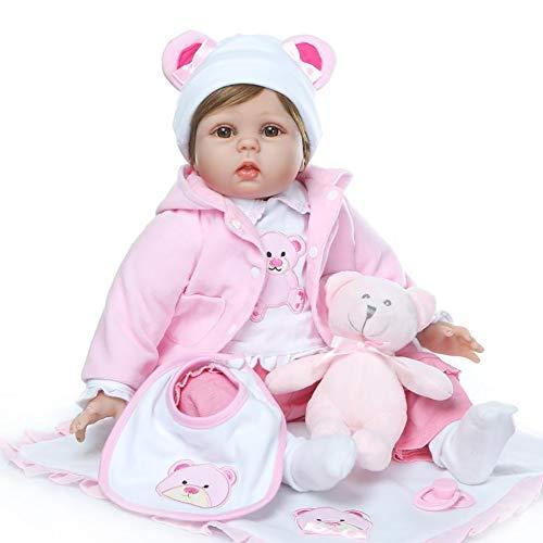 Reborn Babys Puppe 22 Zoll Wiedergeborene Puppen, Glücklich Mädchen Silikon Vinyl Realistische Puppe, Babywachstumsgeschenk (EN71)