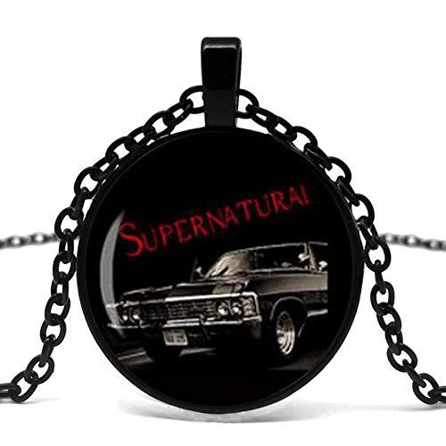 hot Sale, Supernatural Impala Supernatural Road so far Dean Winchester car Sam Necklace Glass cabochon Necklace Black