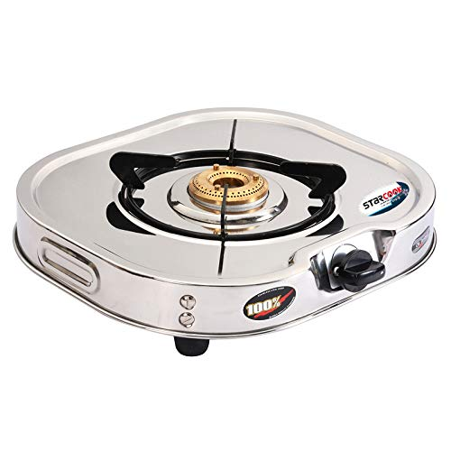 STAR COOK Manual Galaxy 1 Burner Stainless Steel Gas Stove (Silver, L-35 x B-39 x H-9)