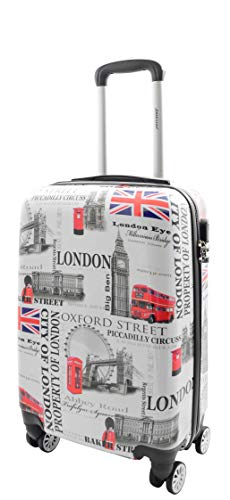 4 Wheel Suitcases Iconic London Landmarks Hard Shell Expandable Luggage Travel Bags HLG900 (Cabin : 55x36x20cm/ 2.30KG, 36L)