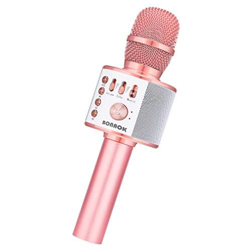 【Bonaok進化版】カラオケマイク Bluetooth ポータブルスピーカー 大容量2600mAh 音楽再生/エコー/録音可能 高音質カラオケ機器 ワイヤレスマイク ノイズキャンセリング TFカード 家庭カラオケ Android/iPhone/PCに対応 日本語説明書 (ローズゴールド)