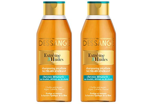 Dessange – Extrem 3-Öl-Shampoo, auf Mizellenbasis, Nährstoffversorgung für trockenes Haar – 250 ml – 2 Stück