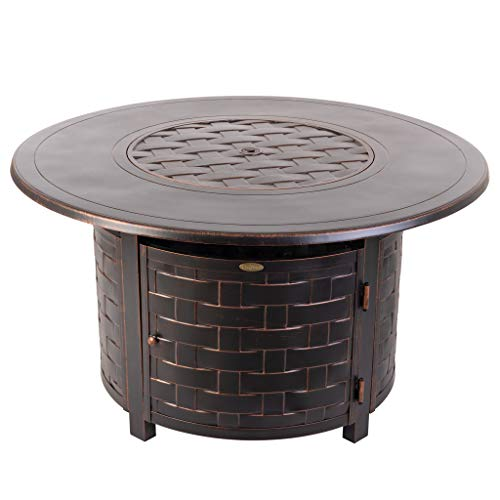 Fire Sense Perissa Round Woven Aluminum LPG Fire Pit Table | Antique Bronze Finish | 50,000 BTU Output | Uses 20 Pound Propane Tank | Fire Bowl Lid, Vinyl Weather Cover, and Clear Fire Glass Included