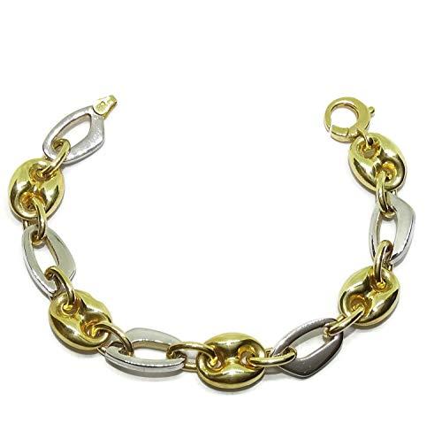 Impresionante pulsera de oro amarillo de 18k con calabrotes y eslabones de oro blanco de 18k. 19cm de larga. Pensada para mujer. Peso; 14.10 gr de oro de 18k