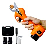 Kebtek Pruning Shears Battery Powered, Electric Pruning Shears Electric Branch Scissors Cordless with Brushless Motor 2 Pack Backup Rechargeable 2Ah Lithium, 25mm [0.98inch] Cutting diammeter (Orange)