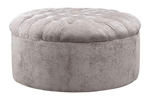 Signature Design by Ashley - Carnaby Oversized Round Velvet Ottoman, Silver