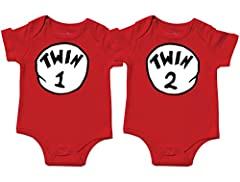Amazon size chart is not specific to our brand. Please see Description for dimensions on t-shirts Screen printed design on Cotton bodysuits for comfort and softness. Gift Set Includes 2 bodysuits. Heather Gray bodysuits are 65/35% cotton-poly blend. ...