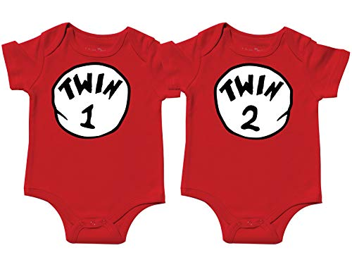 Nursery Decals and More Unisex Bodysuits for Twins, Includes 2 Bodysuits, 6-12 Month Twin 1 Twin 2