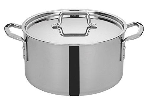 WINCO TGSP-12 Tri-Ply Stock Pot, 12-Quart, Silver