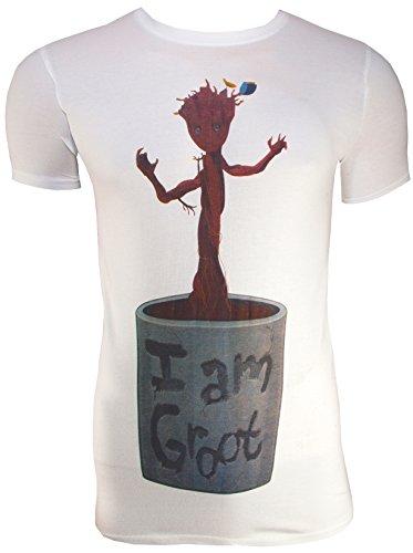 Guardians of the Galaxy T-shirt I am Groot - Pot de fleurs - Blanc - Blanc - L