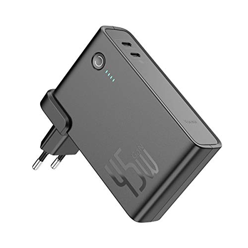 Baseus 45W Ladegerät 10000mAh Power Bank mit GaN Tech 2 in 1 Kraftwerk, 2 Type C Ports PD Ladegerät Kompatibel mit MacBook, USB C Laptops, iPad, iPhone, Galaxy, Pixel, Nintendo Switch usw. (Schwarz)