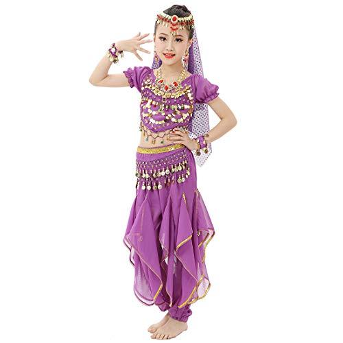 Magogo Disfraz de danza del vientre para niñas, brillante, para carnaval, ropa de princesa árabe, ropa de cosplay (L, morado)