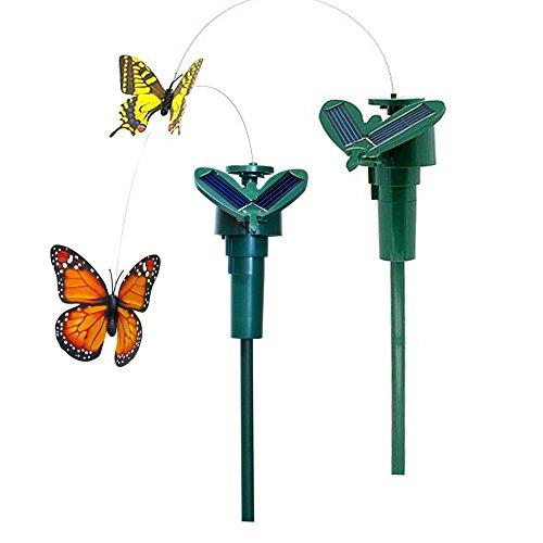 Cikuso 2X Tanzend Kreatives Spielzeug auf Gartensteckern Garten Rasen Blumentopf Blumenbeet Deko Ornament, Farbe Random (Solar-Schmetterling)