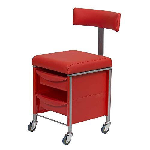 Chaise d'appoint avec dossier professionnel pour manucure et pédicure KARAT Rouge 4