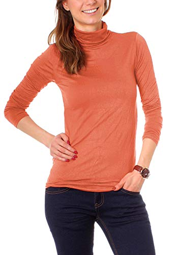 Easy Young Fashion Basic Damen Rollkragen Jersey Shirt Unterzieher Longsleeve Enganliegend Langarm Einfarbig One Size Papaya
