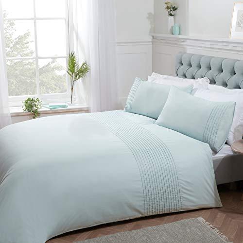 Sleepdown - Set di biancheria da letto con motivo a righe, motivo a pieghe a forma di uovo d'anatra, facile da pulire, morbido e confortevole, con federe, 220 x 230 cm, in policotone