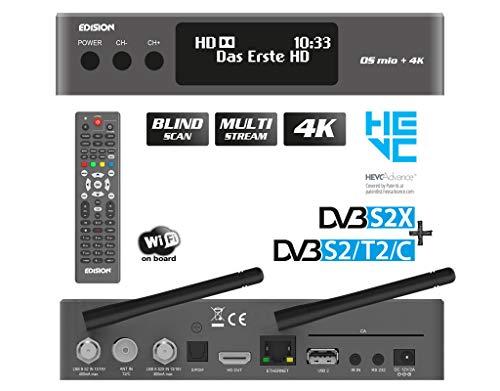 EDISION OS MIO+ 4K UHD Linux E2 Combo-Receiver H.265/HEVC (1x DVB-S2X, 1x DVB-S2/T2/C, OLED Display, Multistream, Blind Scan, 2160p, Dual Band Wi-Fi, Bluetooth, 2X USB, HDMI, LAN, Kartenleser) (Grau)