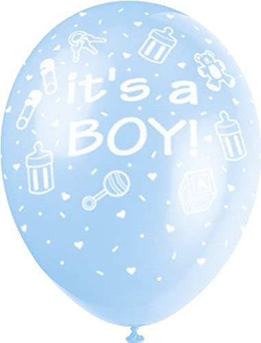 encuentra tu favorito aquí Unique Party- Globos Perlados de Látex para Baby Shower Shower Shower It's a Boy , Color azul, 30 cm (80244)  mejor precio