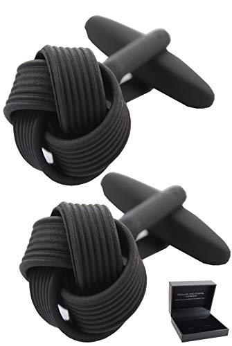COLLAR AND CUFFS LONDON - HOCHWERTIGE Manschettenknöpfe mit Geschenk Box - Knoten - Stilvolle Messing - Runde - Schwarz Farbe