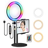 Yingnuost Selfie RGB Ring Light: LED Color Changing 10-inch Circle Lighting with Desktop Stand Tablet Holder & Lamp Remote for Cell Phone Photography Live Filming TIK Tok YouTube Video Recording