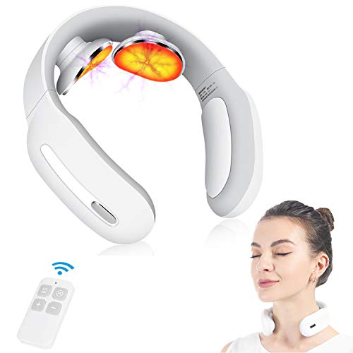 Neck Massager with Heated,Intelligent Portable Electric Neck Massage Equipment with 3 Modes and 15 Speeds for Office