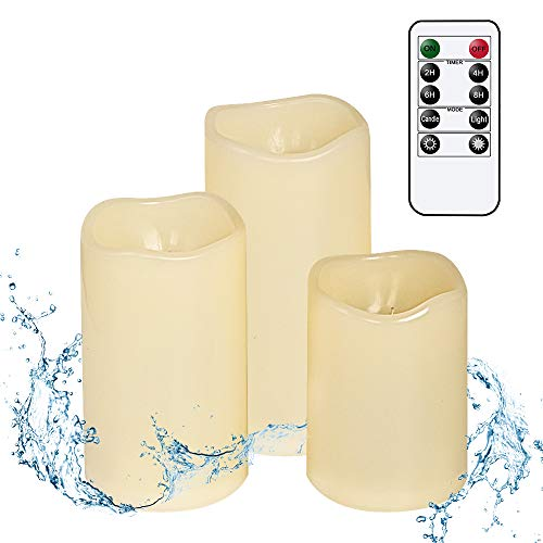 Wondise Outdoor Remote Flameless Flickering Candles with Timer, Waterproof and Heat Resistant, Battery Operated Ivory LED Flameless Candles Warm Light Patio Christmas Decor(Set of 3, 3 x 4-6 Inches)