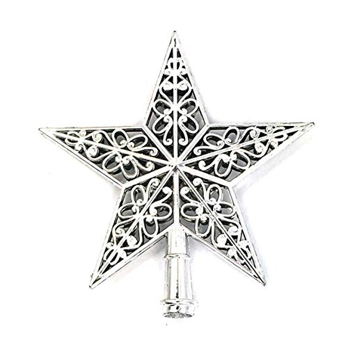 Christmas Tree Top Decoration Christmas Tree Silver Star Topper Plastic Hollow Star Ornament