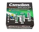 Camelion Super Heavy Duty Green - Paquete de 40 pilas Mignon AA, Micro AAA y Baby C