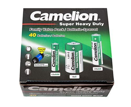 Camelion 10104000 Super Heavy Duty Batterien (Haushaltssparset 40tlg., inkl. Taschenlampe, Schlüsselanhänger)