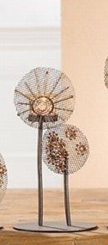 GILDE 2X 69395 Metall Teelichthalter Blume 2