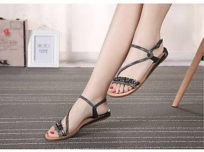 RUGAI-UE Mode d'été Occasionnels Chaussures Femmes Sandales Talons Confort PU Marcher en Plein air,Or,US8.5   EU39   UK6.5   CN40